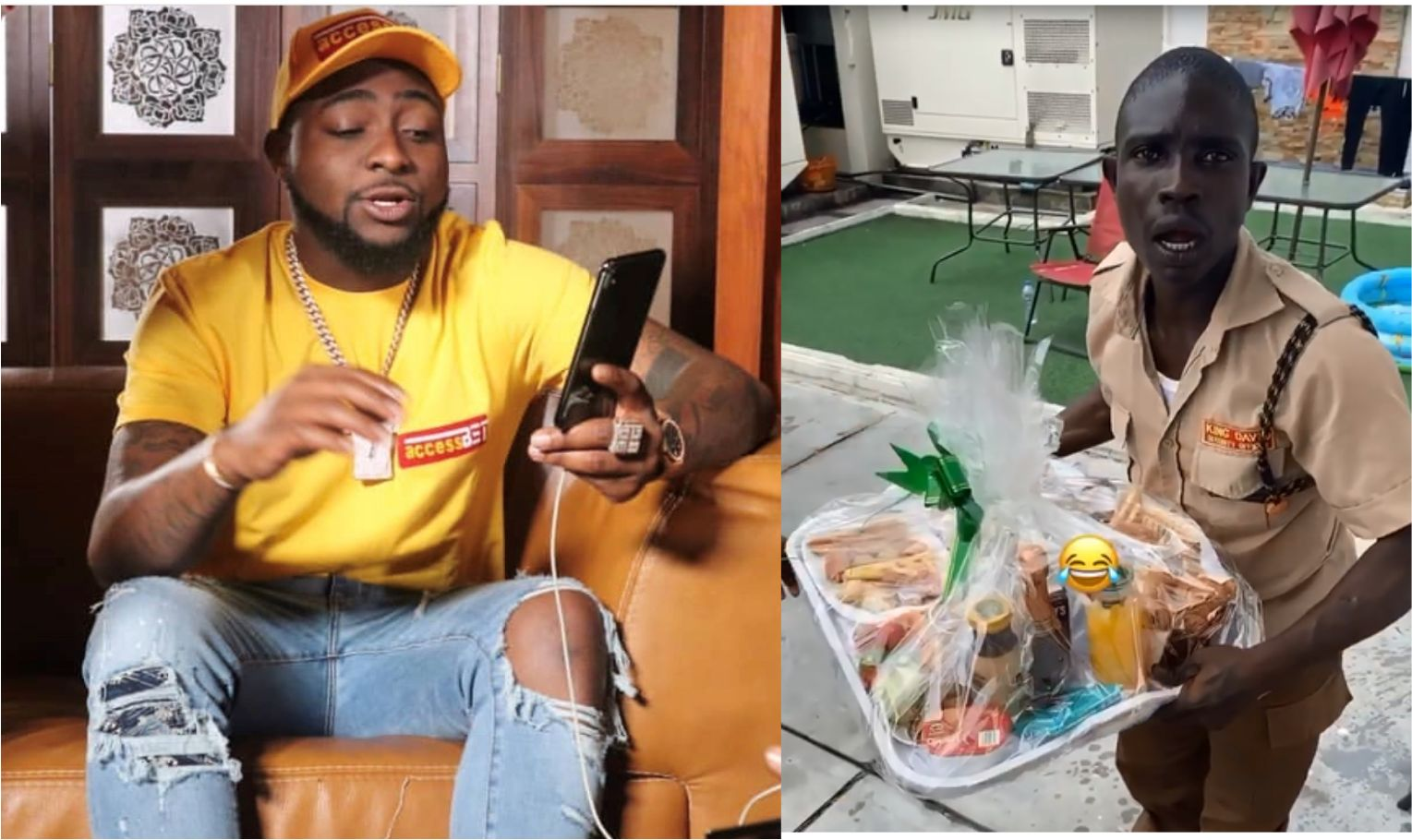 Watch || Davido Surprises His Security Guard With A Tray Of Gifts